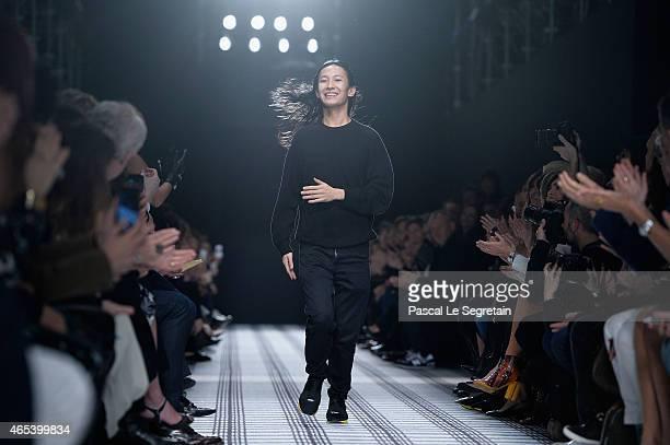 Designer Alexander Wang walks the runway after the Balenciaga show as part of the Paris Fashion Week Womenswear Fall/Winter 2015/2016 on March 6 2015...