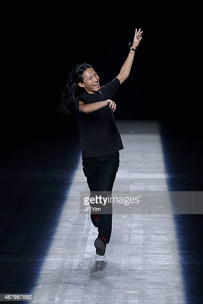 Designer Alexander Wang walks the runway at the Alexander Wang Spring 2016 fashion show during New York Fashion Week at Pier 94 on September 12 2015...