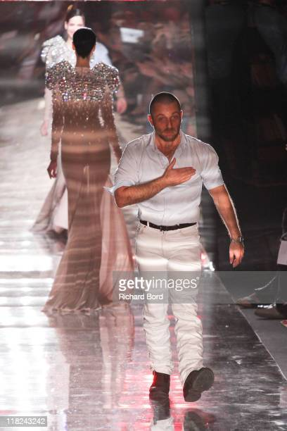 Designer Alexandre Vauthier walks the runway after the Alexandre Vauthier Haute Couture Fall/Winter 2011/2012 show as part of Paris Fashion Week at...