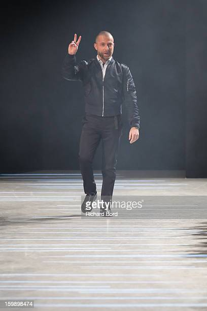 Designer Alexandre Vauthier walks the runway during the Alexandre Vauthier Spring/Summer 2013 HauteCouture show as part of Paris Fashion Week at...