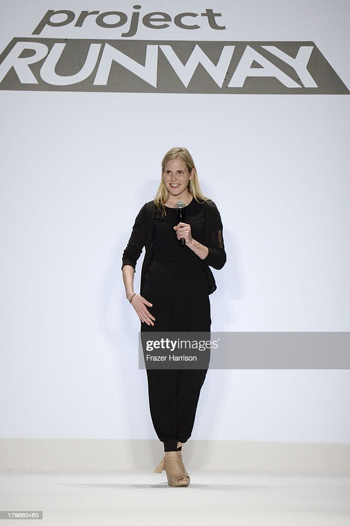 Designer Alexandria Von Bromssen walks the runway at the Project Runway Spring 2014 fashion show during Mercedes-Benz Fashion Week at The Theatre at Lincoln Center on September 6, 2013 in New York City.