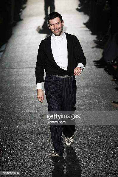 Designer Alexis Mabille acknowledges the audience after the Alexis Mabille show as part of the Paris Fashion Week Womenswear Fall/Winter 2015/2016 at...