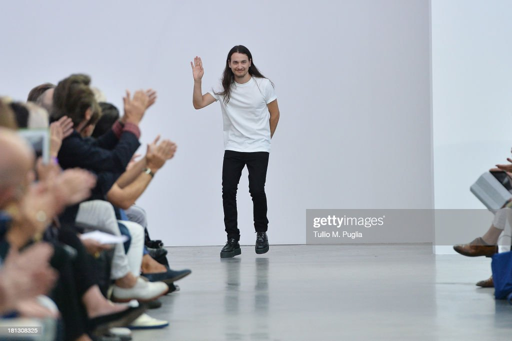 Designer Alexis Martial acknowledges the audience at the end the Iceberg show as a part of Milan Fashion Week Womenswear Spring/Summer 2014 on September 20, 2013 in Milan, Italy.