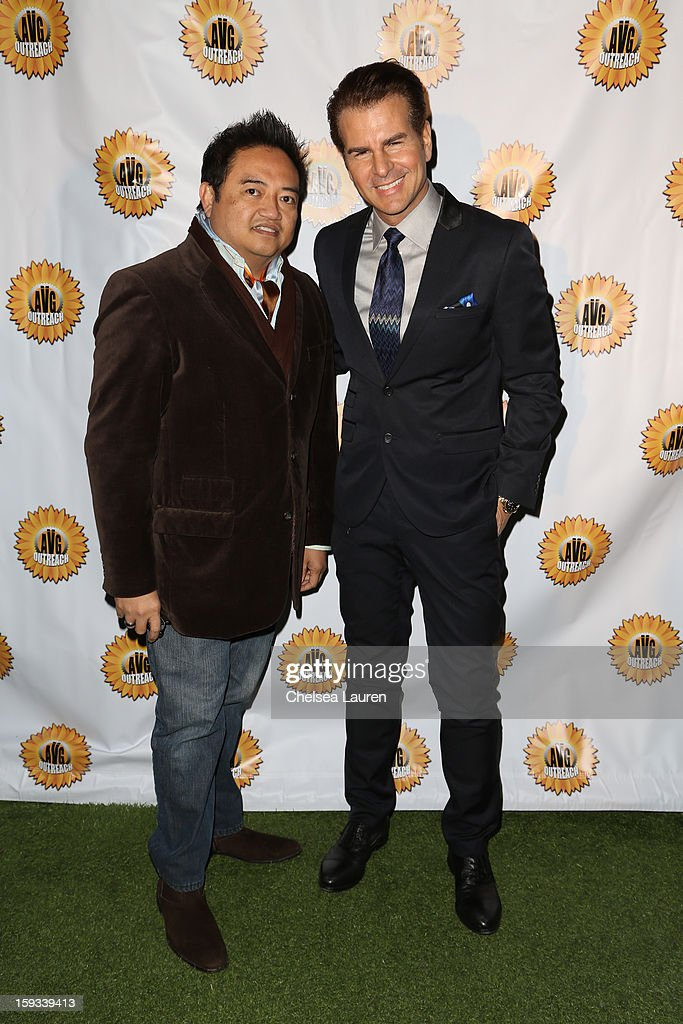 Designer Alexis Monsanto (L) and actor Vincent de Paul attend the AVG outreach event at the Viceroy Hotel on January 11, 2013 in Santa Monica, California.