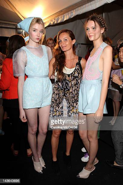 Designer Alice McCall poses with models backstage ahead of the Alice McCall show on day three of MercedesBenz Fashion Week Australia Spring/Summer...