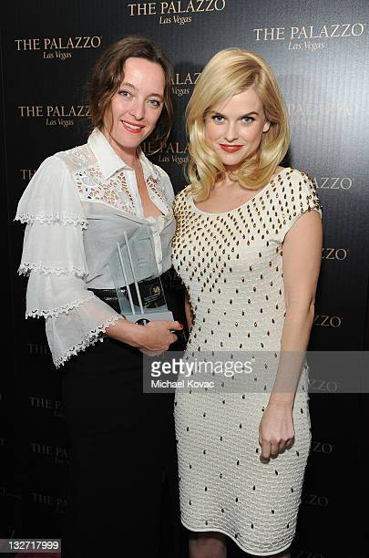 LOS Designer Alice Temperley and actress Alice Eve pose with the Designer of the Year Award at the 2011 Hollywood Style Awards sponsored by Smashbox...