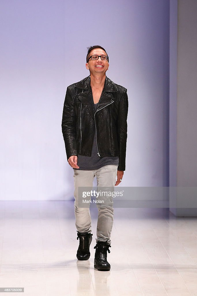 Designer Alvin Fernandez thanks guests on the runway at the Ae'lkemi show during Mercedes-Benz Fashion Week Australia 2014 at Carriageworks on April 10, 2014 in Sydney, Australia.