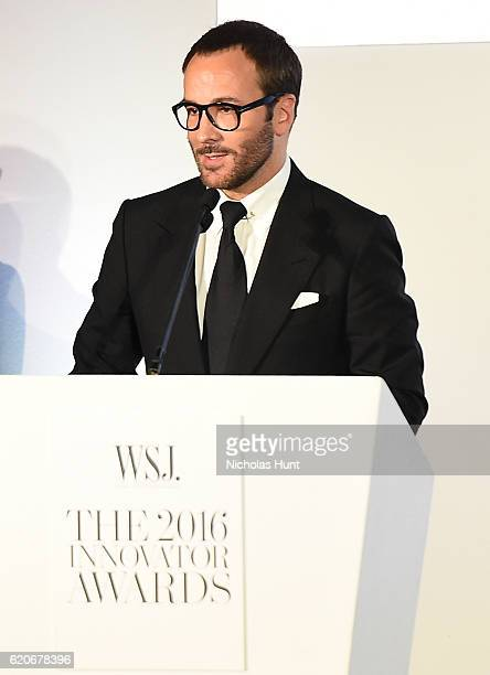 Designer and director Tom Ford accepts the Innovator Award in Film onstage at the WSJ Magazine 2016 Innovator Awards at Museum of Modern Art on...