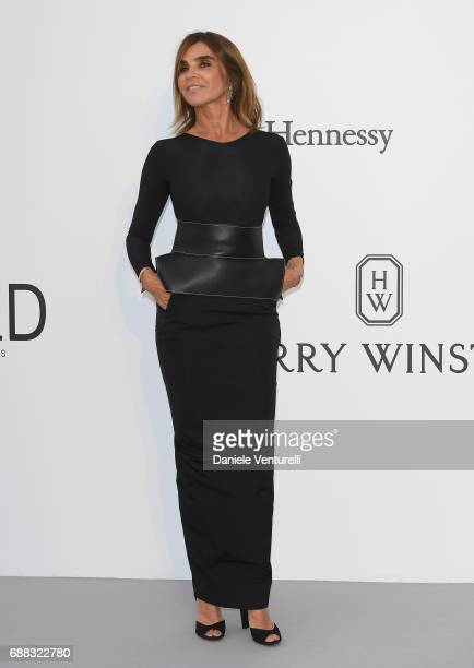 Designer and fashion editor Carine Roitfeld arrives at the amfAR Gala Cannes 2017 at Hotel du CapEdenRoc on May 25 2017 in Cap d'Antibes France
