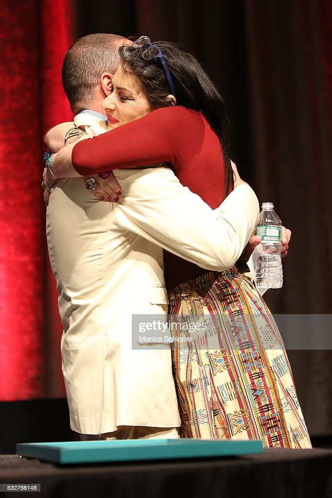 Designer and honoree Alexis Bittar hugs stylist and author Stacy London at the Bottomless Closet 17th Anniversary Spring Luncheon on May 19 2016 in...