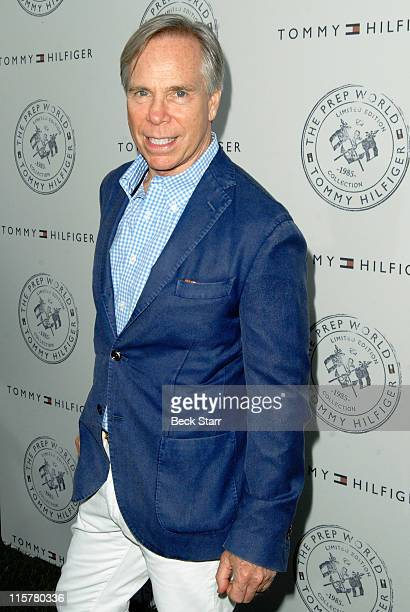 Designer and host Tommy Hilfiger arrives at Tommy Hilfiger Prep World PopUp House Launch Party at The Grove on June 9 2011 in Los Angeles California