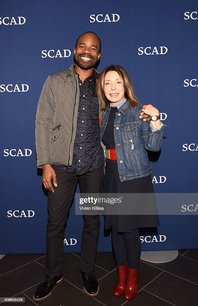 Designer and SCAD Alumnus Bradley Bowers and SCAD President and Founder Paula Wallace pose for a photo together during Day Two of aTVfest 2016 presented by SCAD on February 5, 2016 in Atlanta, Georgia.
