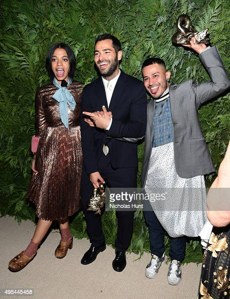 Designer and winner Aurora James of Brother Vellies designer and winner Jonathan Simkhai and designer and winner Rio Uribe of Gypsy Sport pose for a...