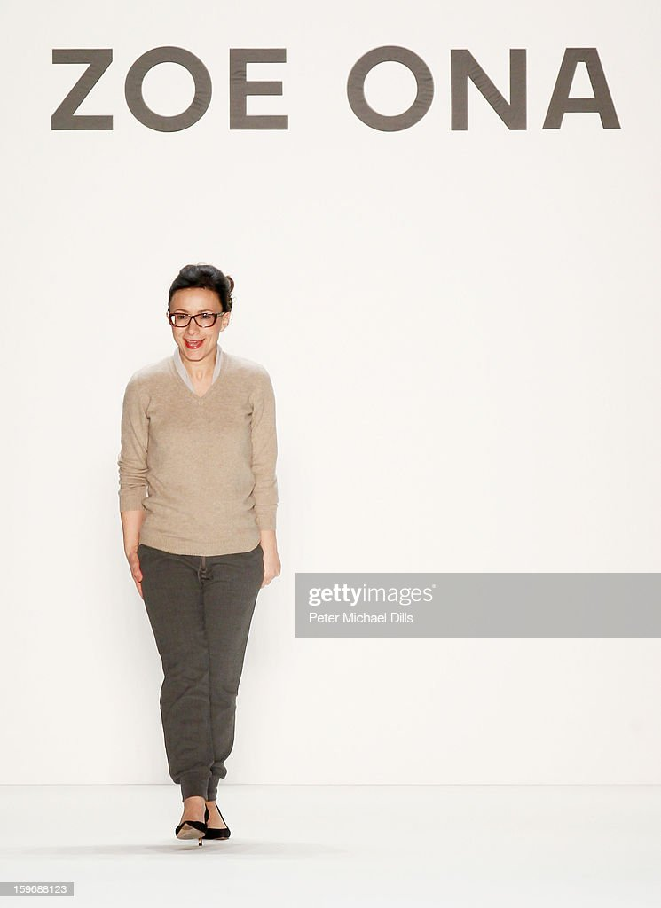Designer Andrada Ona poses at Zoe Ona Autumn/Winter 2013/14 fashion show during Mercedes-Benz Fashion Week Berlin at Brandenburg Gate on January 18, 2013 in Berlin, Germany.