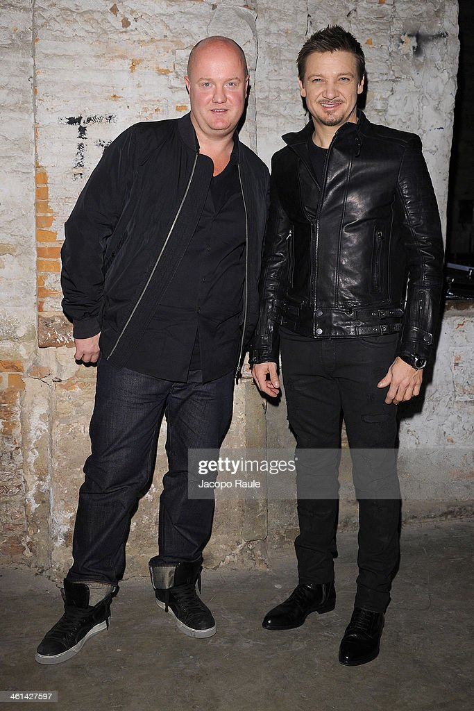 Designer Andreas Melbostad and actor Jeremy Renner attend Diesel Black Gold fashion show during Pitti Immagine Uomo 85 on January 8, 2014 in Florence, Italy.