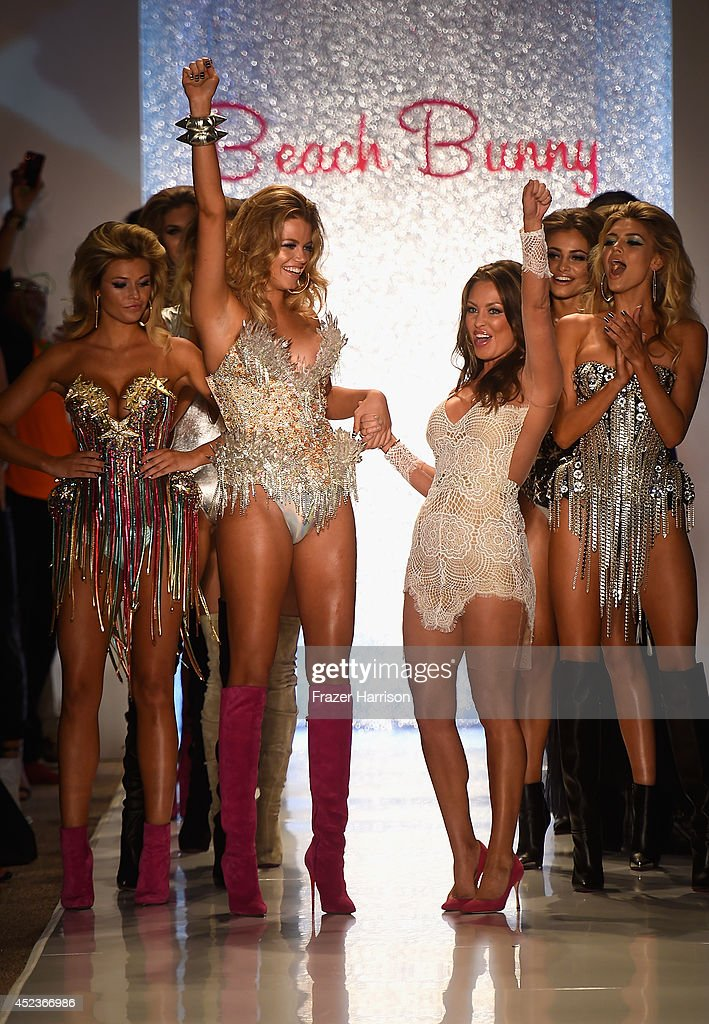 Designer Angela Chittenden and models walk the runway TRESemme at the Beach Bunny Featuring The Blonds show during MercedesBenz Fashion Week Swim...