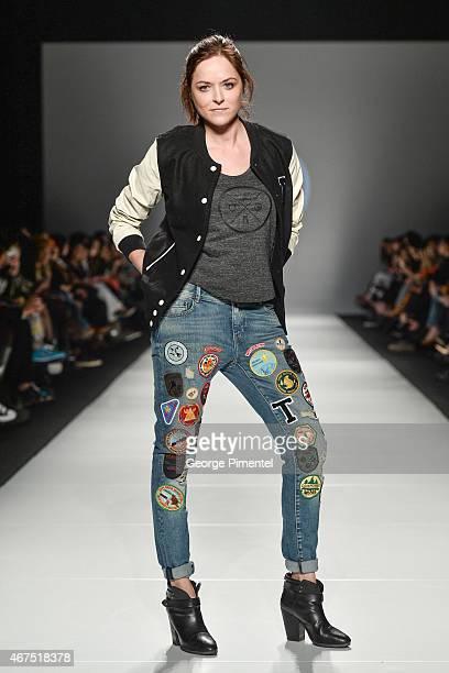 Designer Ania Taubenfligel walks the runway wearing Triarchy fall 2015 collection during World MasterCard Fashion Week Fall 2015 at David Pecaut...