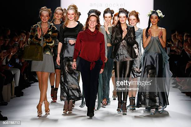 Designer Anja Gockel and a group of models walk the runway at the Anja Gockel show during the MercedesBenz Fashion Week Berlin Autumn/Winter 2016 at...