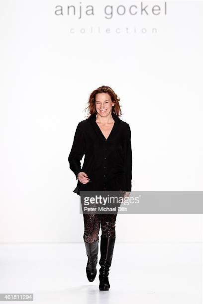 Designer Anja Gockel walks the runway at the Anja Gockel show during the MercedesBenz Fashion Week Berlin Autumn/Winter 2015/16 at Brandenburg Gate...