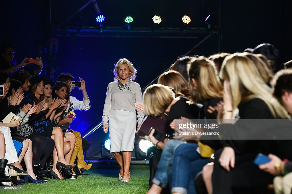 Designer Anna Molinari acknowledges the audience at the end of the the Blugirl show as part of Milan Fashion Week Womenswear Spring/Summer 2015 on September 18, 2014 in Milan, Italy.