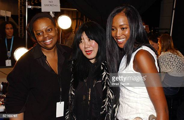 Designer Anna Sui and model Naomi Campbell pose backstage at the Anna Sui Fall 2005 show during the Olympus Fashion Week at Bryant Park February 9...