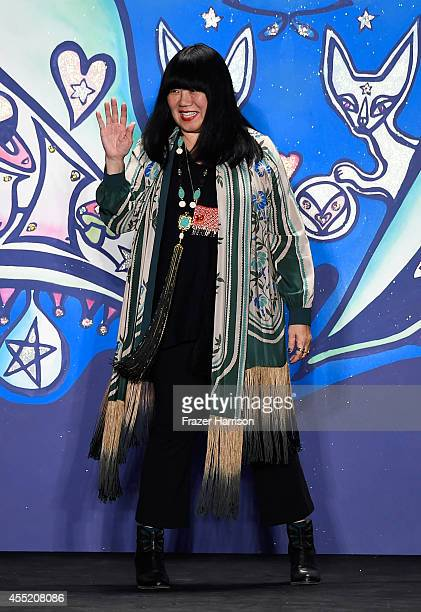 Designer Anna Sui appears on the runway at the Anna Sui fashion show during MercedesBenz Fashion Week Spring 2015 at The Theatre at Lincoln Center on...