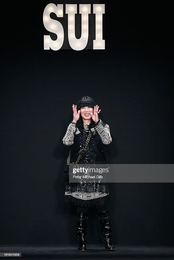 Designer Anna Sui attends the Anna Sui Fall 2013 fashion show during Mercedes-Benz Fashion Week at The Theatre at Lincoln Center on February 13, 2013 in New York City.