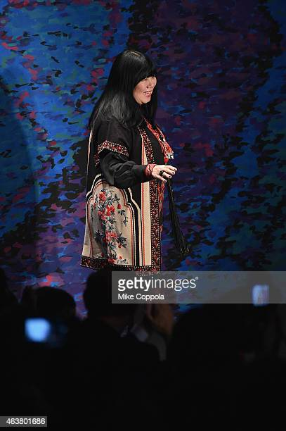 Designer Anna Sui attends the Anna Sui fashion show during MercedesBenz Fashion Week Fall 2015 at The Theatre at Lincoln Center on February 18 2015...