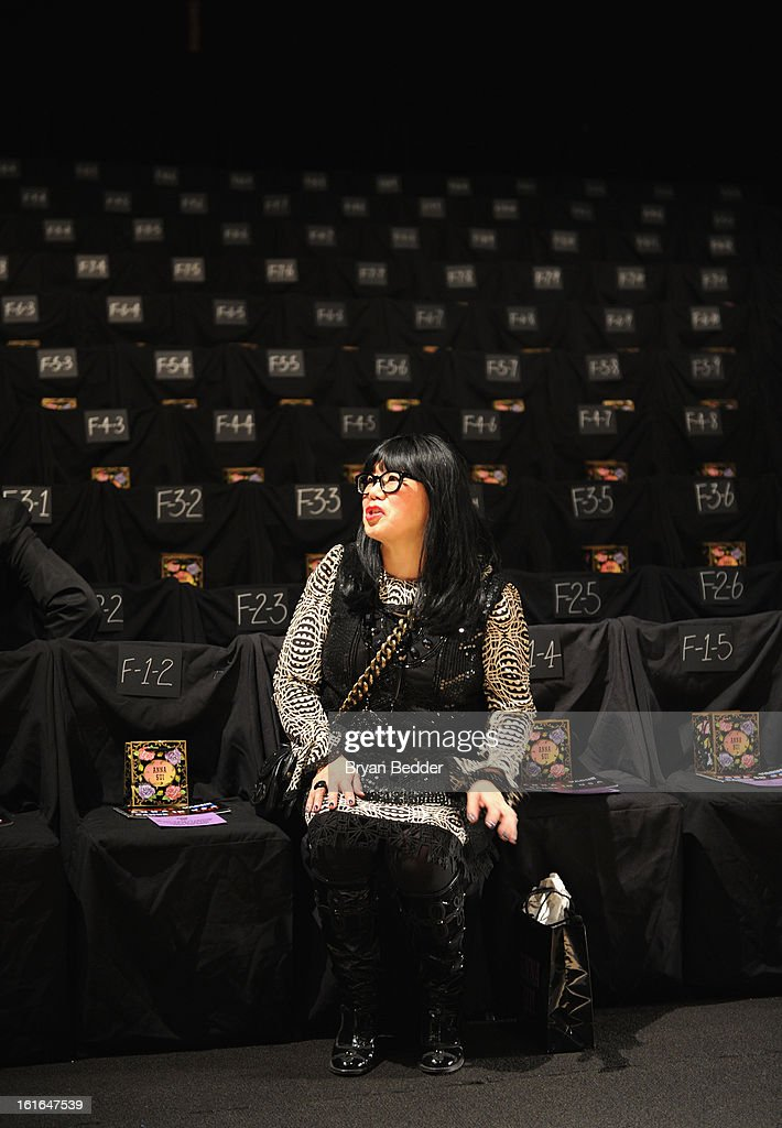 Designer Anna Sui backstage at the Anna Sui fashion show during Fall 2013 Mercedes-Benz Fashion Week at Lincoln Center for the Performing Arts on February 13, 2013 in New York City.