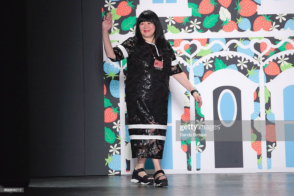 Designer Anna Sui greets the audience on the runway after the Anna Sui September 2016 New York Fashion Week: The Shows Spring 2017 season at The Arc, Skylight at Moynihan Station on September 14, 2016 in New York City.