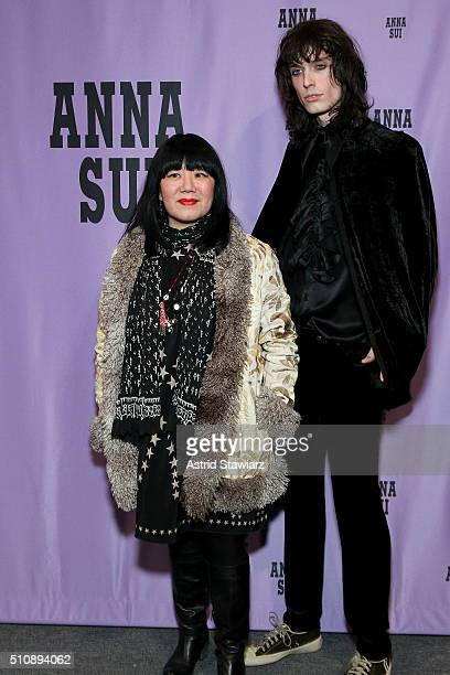 Designer Anna Sui poses backstage with a model backstage at the Anna Sui Fall 2016 fashion show during New York Fashion Week The Shows at The Arc...