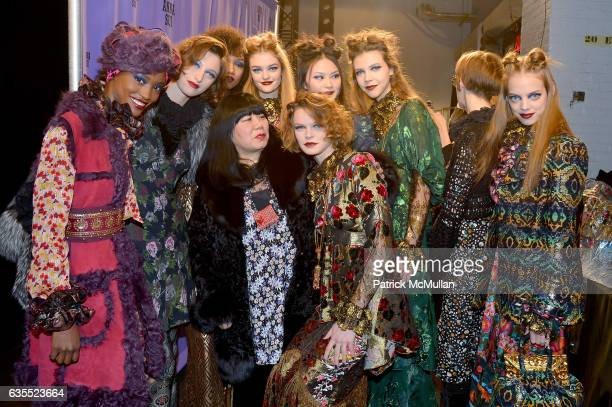 Designer Anna Sui poses backstage with models at Anna Sui Fall/Winter 2017 Show during New York Fashion Week The Shows on February 15 2017 in New...