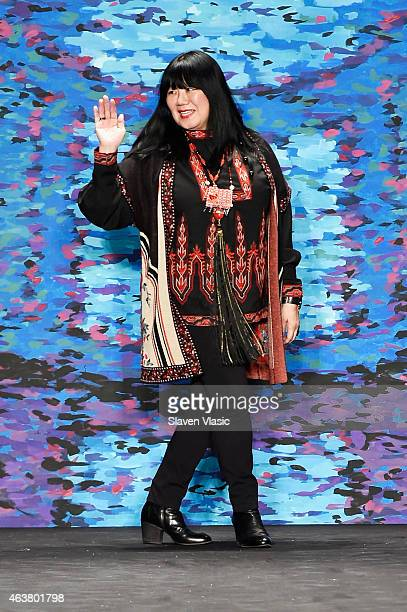 Designer Anna Sui poses on the runway at the Anna Sui fashion show during MercedesBenz Fashion Week Fall at The Theatre at Lincoln Center on February...