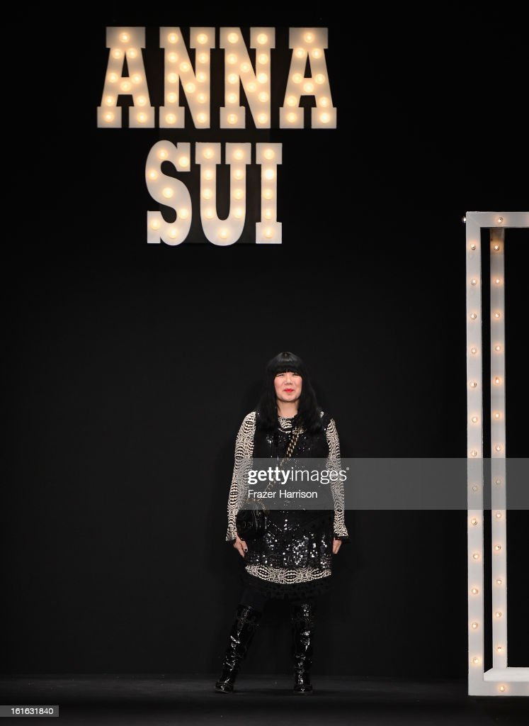 Designer Anna Sui walks the runway at the Anna Sui Fall 2013 fashion show during Mercedes-Benz Fashion Week at The Theatre at Lincoln Center on February 13, 2013 in New York City.