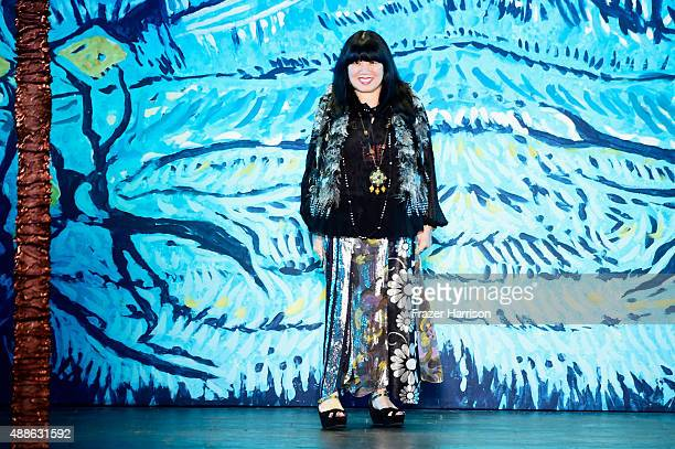 Designer Anna Sui walks the runway during the Anna Sui Spring 2016 during New York Fashion Week The Shows at The Arc Skylight at Moynihan Station on...