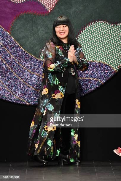 Designer Anna Sui walks the runway for Anna Sui fashion show during New York Fashion Week The Shows at Gallery 1 Skylight Clarkson Sq on September 11...