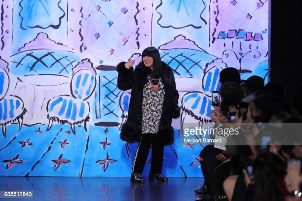 Designer Anna Sui walks the runway for the Anna Sui collection during New York Fashion Week The Shows at Gallery 1 Skylight Clarkson Sq on February...