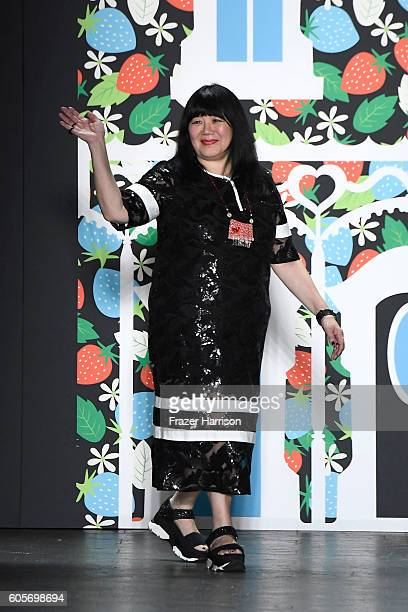 Designer Anna Sui waves after the final of the Anna Sui fashion show during New York Fashion Week The Shows at The Arc Skylight at Moynihan Station...