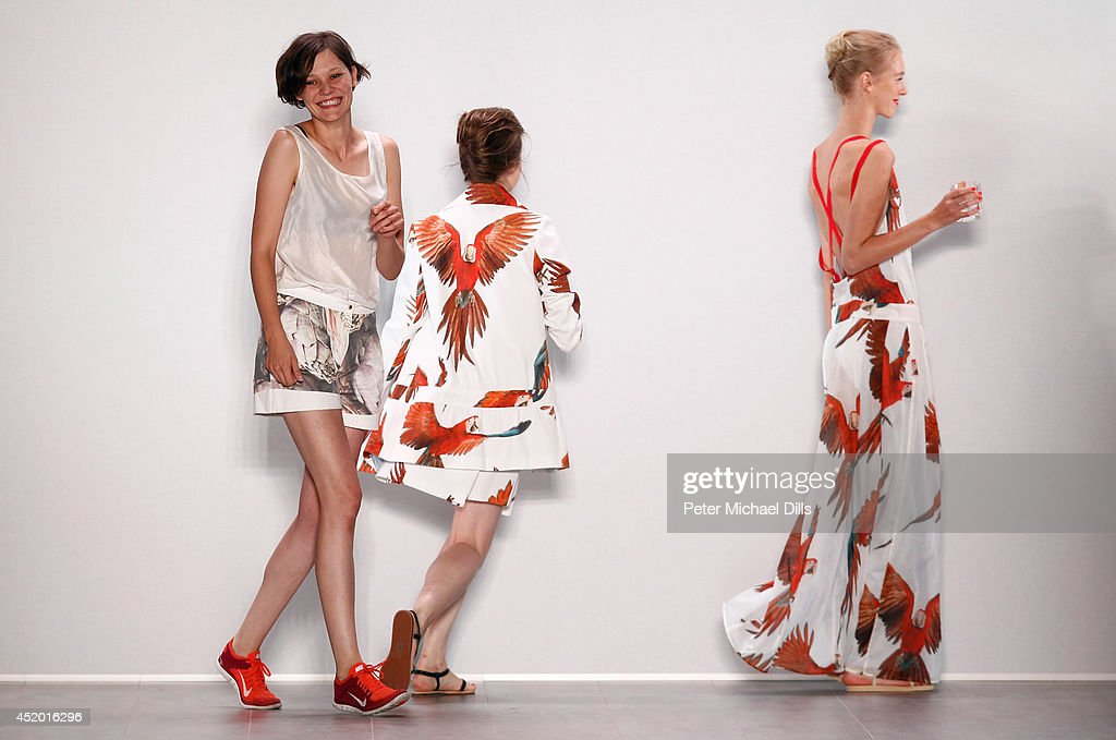Designer Anne Gorke and models walk the runway at the Anne Gorke show during the Mercedes-Benz Fashion Week Spring/Summer 2015 at Erika Hess Eisstadion on July 11, 2014 in Berlin, Germany.