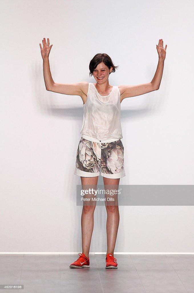 Designer Anne Gorke walks the runway at the Anne Gorke show during the Mercedes-Benz Fashion Week Spring/Summer 2015 at Erika Hess Eisstadion on July 11, 2014 in Berlin, Germany.