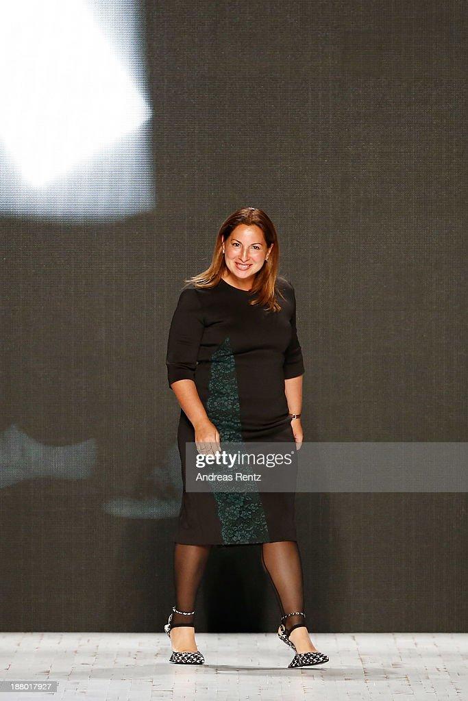 Designer Anne Valerie Hash on the runway after the Anne Valerie Hash show during Mercedes-Benz Fashion Days Zurich 2013 on November 14, 2013 in Zurich, Switzerland.
