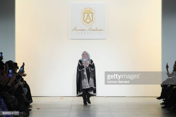Designer Anniesa Hasibuan takes a final walk on the runway for the Anniesa Hasibuan collection during New York Fashion Week The Shows at Gallery 2...
