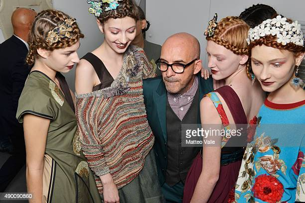 Designer Antonio Marras and models are seen backstage ahead of the Antonio Marras show during Milan Fashion Week Spring/Summer 2016 on September 26...