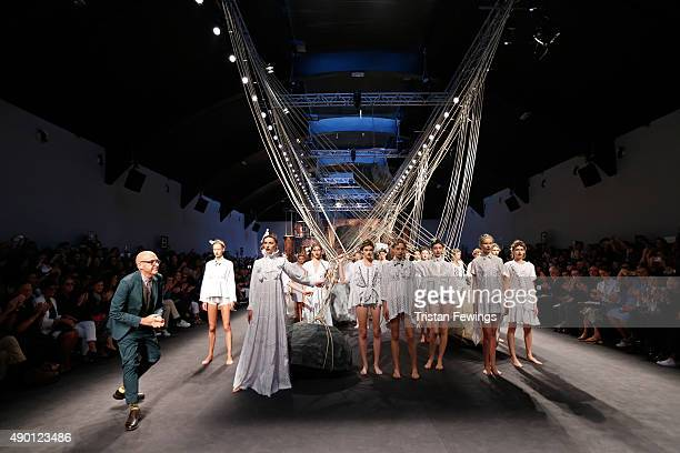Designer Antonio Marras walks the runway during the Antonio Marras fashion show as part of Milan Fashion Week Spring/Summer 2016 on September 26 2015...