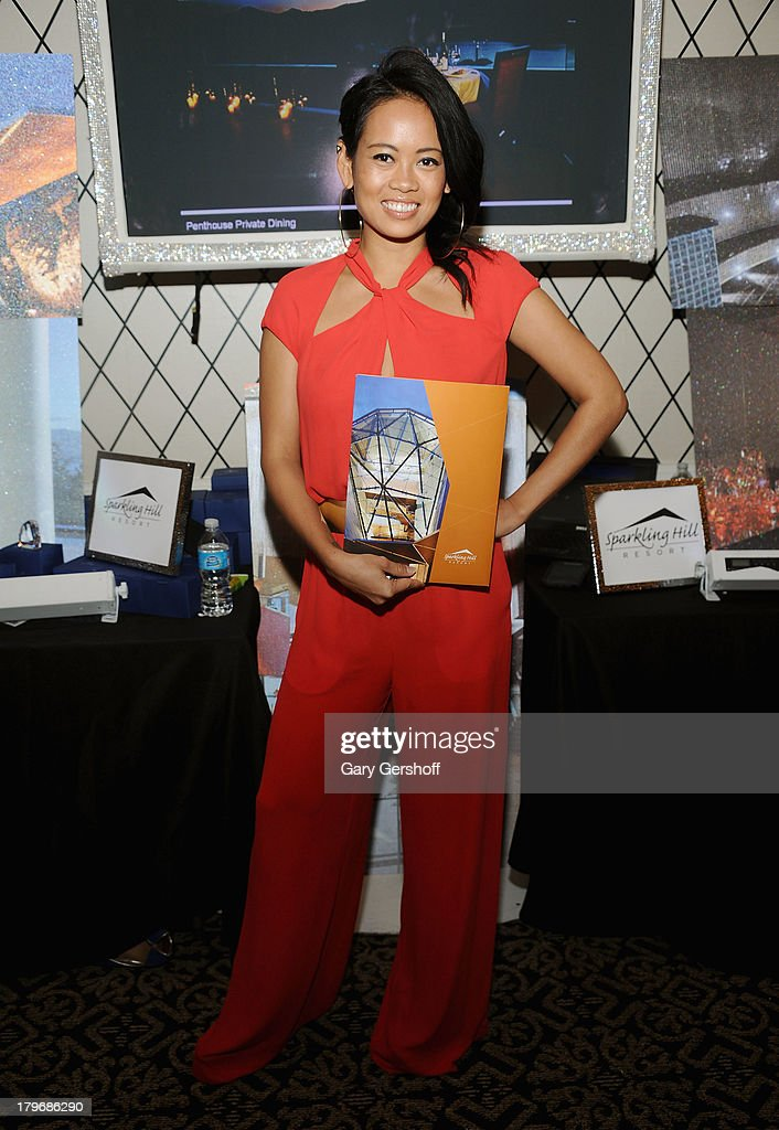 Designer Anya Ayoung-Chee poses at the GBK & Sparkling Resort Fashionable Lounge during Mercedes-Benz Fashion Week on September 6, 2013 in New York City.
