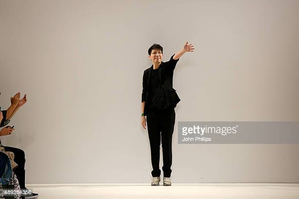 Designer Apu Jan appears at the end of the runway after the Apu Jan show at Fashion Scout during London Fashion Week Spring/Summer 2016 on September...