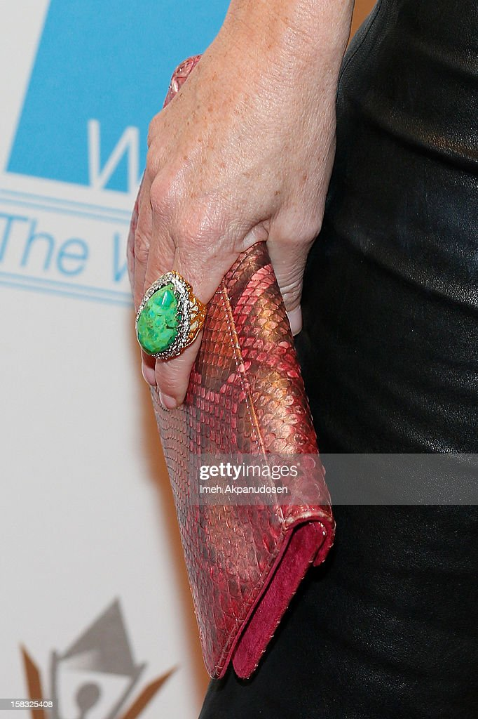 Designer Aries Milan (clutch and ring detail) attends the 14th Annual Women's Image Network Awards at Paramount Theater on the Paramount Studios lot on December 12, 2012 in Hollywood, California.