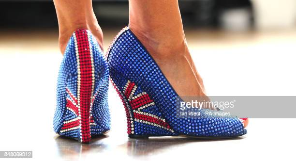 Designer Aruna Seth wearing limited edition 'British shoes' to celebrate the Queen's Diamond Jubilee with a price tag of 3000 at Quintessentially in...