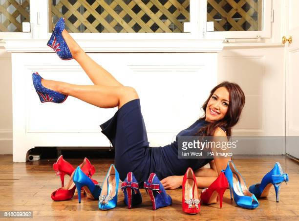 Designer Aruna Seth wearing limited edition British shoes to celebrate the Queen's Diamond Jubilee with a price tag of pound3000 at Quintessentially...