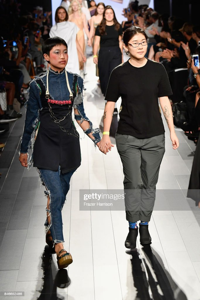 Designer Atalanta Shi and her model walk the runway at the RISD fashion show during New York Fashion Week: The Shows at Gallery 1, Skylight Clarkson Sq on September 13, 2017 in New York City.